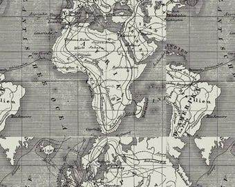 African map fabric etsy world map fabric african continent and europe printed on linen gumiabroncs Image collections