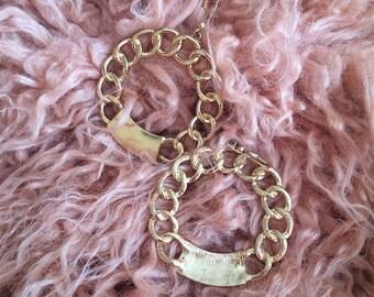 Golden Round Earrings | Dangle Gold | Golden Chain | Vintage Style | Statement Earrings