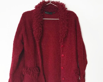 Burgundy Cardigan | Knitted Sweater | Red Cardigan | Wine Red Cardigan | Knit Sweater | Knit Cardigan | Button Up Cardigan | Knit Jacket