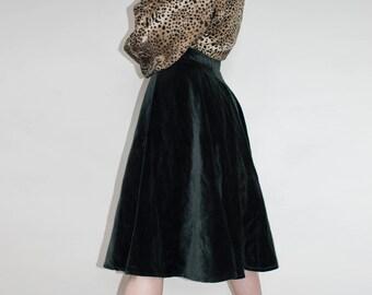 Black Skirt | Pleated Skirt | Velour Skirt | High Waisted Skirt | Knee Length Skirt | Evening Skirt | Long Skirt | Boho