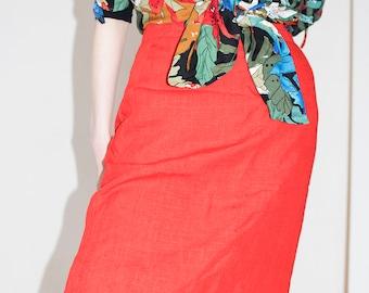 Orange Red Skirt | Vintage Skirt | High Waist Skirt | Midi Skirt | Summer Skirt | Knee Length Skirt | Funky Vintage