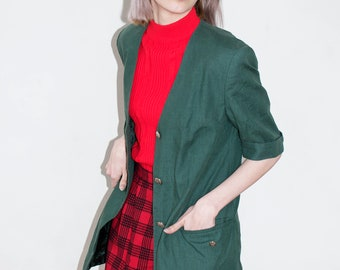 Green Blazer Jacket | Vintage Blazer | Plaid Blazer | Casual Blazer | Military Jacket | Vintage Style