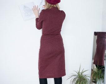 Vintage Dress | Long Sleeve Dress | Midi Dress | Elegant Dress | Long Dress | Stripped | Maxi Dress | Casual Dress
