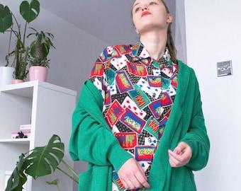 Oversized Green Cardigan With Pockets | Vintage style | Sweater | Minimal Cardigan