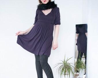 Dark Purple Short Dress | Tunic | Tunic Dress | Loose Dress | Mini Dress | Casual Dress | V Neck Dress | Maternity dress