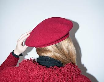 Vintage Beret | Red Beret | Wool Beret | Beret Hat | Red Hat | Headwear | Vintage Hat | Retro Hat | Winter Hat | Wool Hat