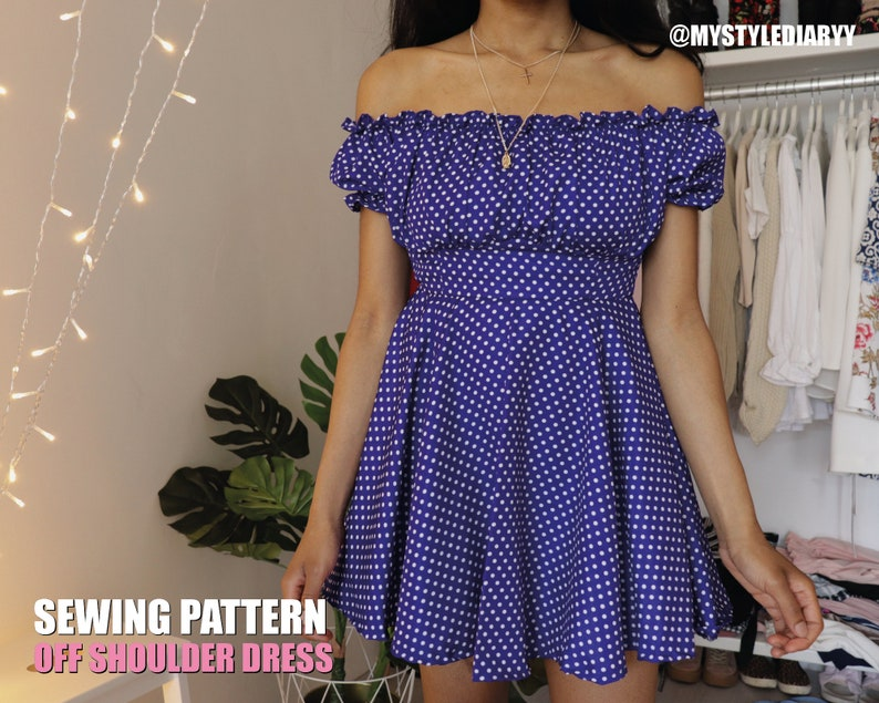 Off shoulder ruffle dress sewing pattern for women summer image 0