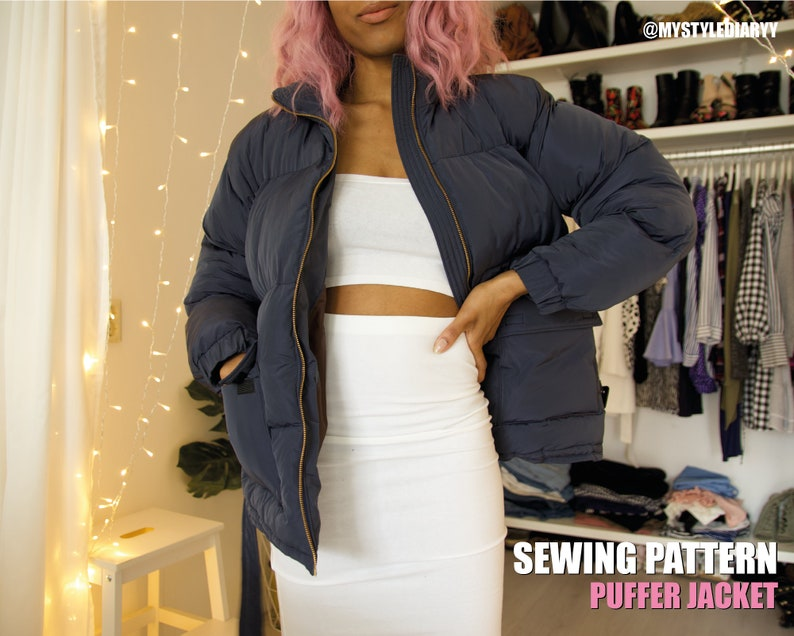 Puffer jacket with Pockets A Winter Coat PDF Sewing Pattern image 0