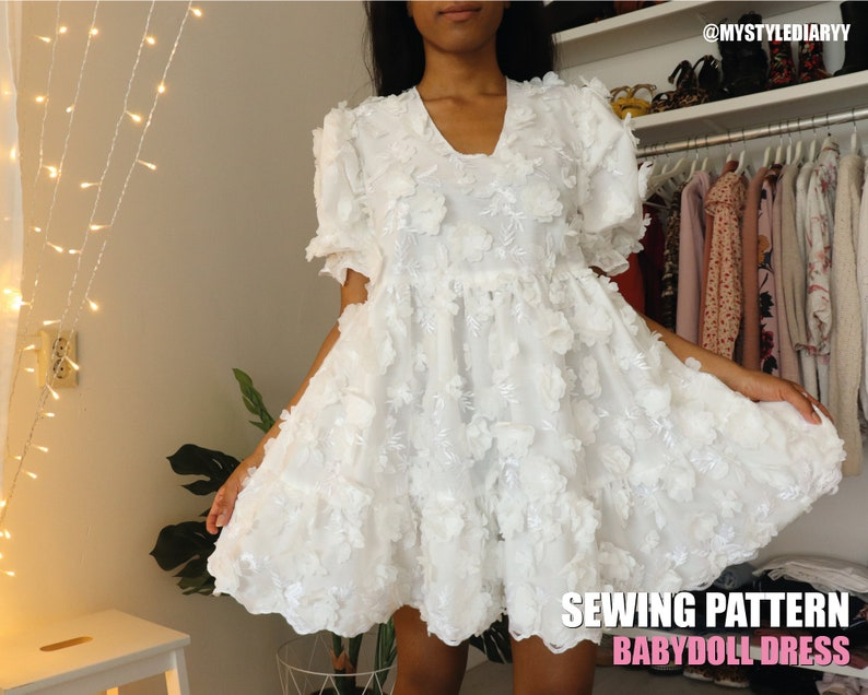 Tiered babydoll dress pattern for women with Puff Sleeves PDF image 0