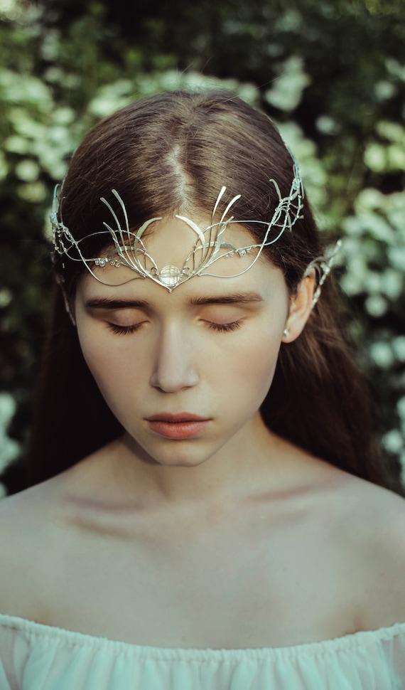 Lotr Wedding Circlet Leaves Circlet Elven Circlet Sterling Silver Medieval Circlet Silver Leaf Circlet Silver Bridal Circlet