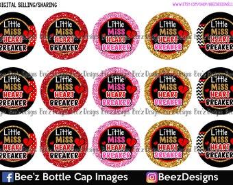 Little Miss Heart Breaker- INSTANT DOWNLOAD- 1 inch Bottle Cap Images