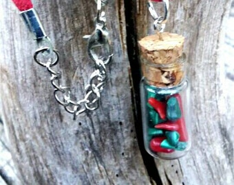 Merry Christmas healing stone bottle necklace,green malachite and red coral mini bottle necklace, metaphysical healing jewelry, minimalist