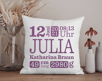 Baby pillow with name, gift for birth, gift idea, baptismal gift, gifts for birth, gift, name pillow, birth cushion