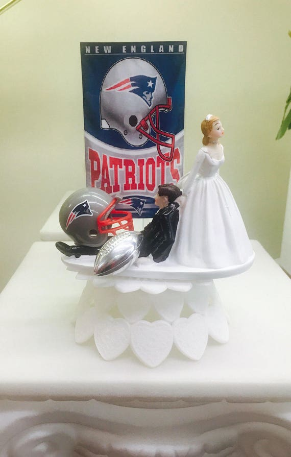 Patriots Inspired Wedding Cake Topper Football Cake Topper Etsy