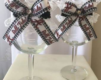 Alabama wedding Toasting glasses , Roll  Tide glasses , Wedding accessories, Crimson Tide toasting glasses