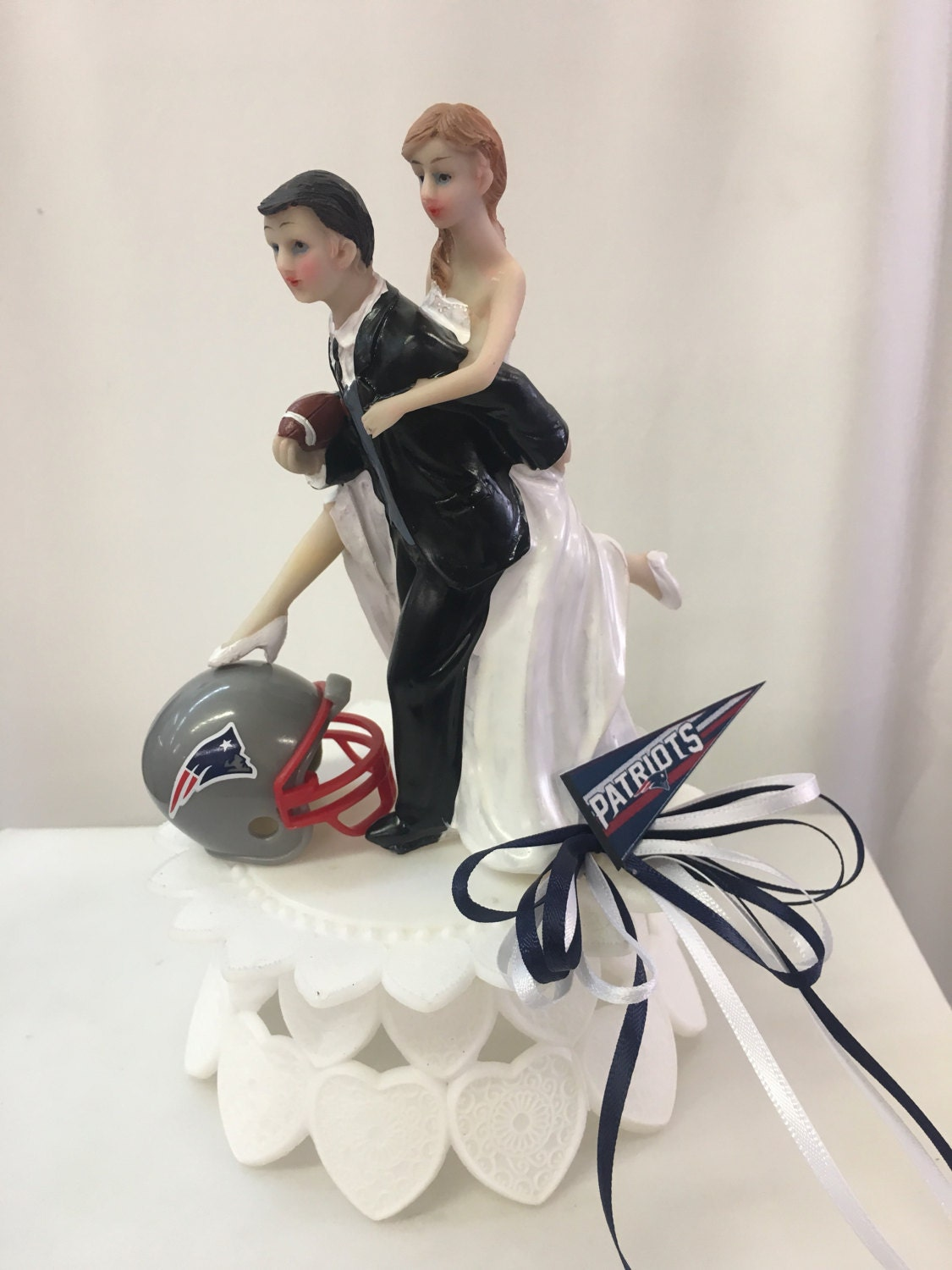 Patriots Inspired Wedding Cake Topper Playful Bride And
