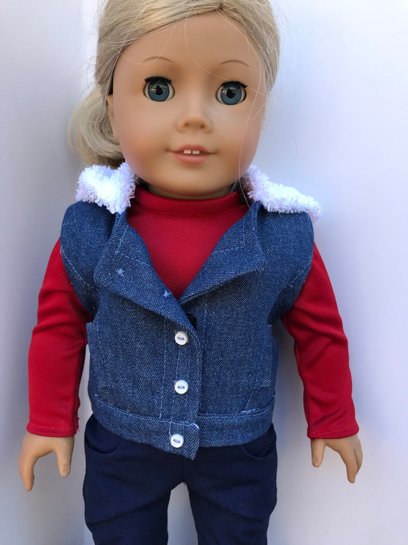 18 Inch Doll Denim Hooded Vest