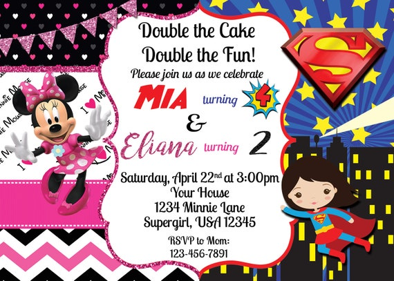 Minnie Mouse Supergirl Invitation Etsy