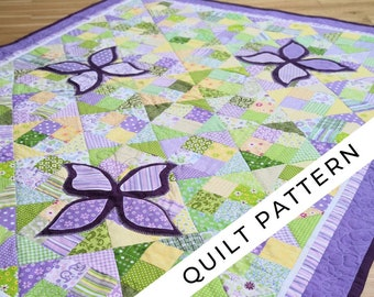 Baby girl quilt pattern digital PDF, purple patchwork & whimsical butterflies. Fat Quarters. Butterflies in the meadow.
