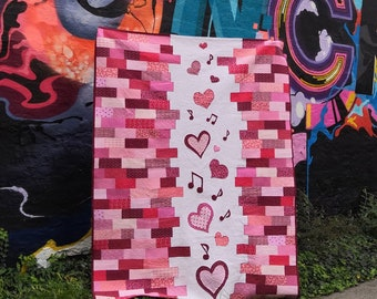 Music of Love quilt PDF pattern, including Heart and Music note applique. Crib to King Size. Wedding anniversary, Valentines day quilt gift