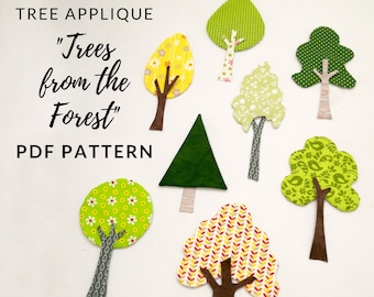 Artistic Tree applique patterns in instant download PDF, 8 tree and 11 tree trunk applique shapes! Our Forest quilt by Magic Little Dreams