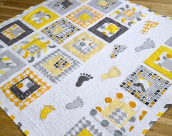 """Playful Baby Quilt PDF Pattern with human footstep applique, """"Smalls Steps"""" patchwork from Magic Little Dreams. Fat quarter friendly, unisex"""