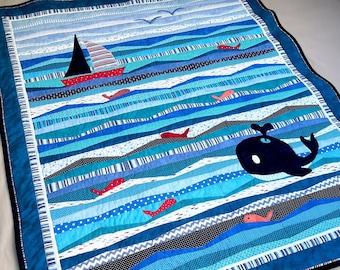 The Explorer Ocean Quilt Pattern, Sailboat Whale and Fish applique, kids quilt, instant download PDF instructions
