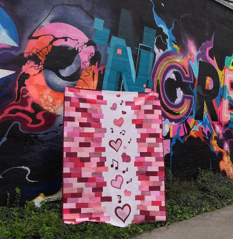 Music of Love quilt PDF pattern including Heart and Music image 0