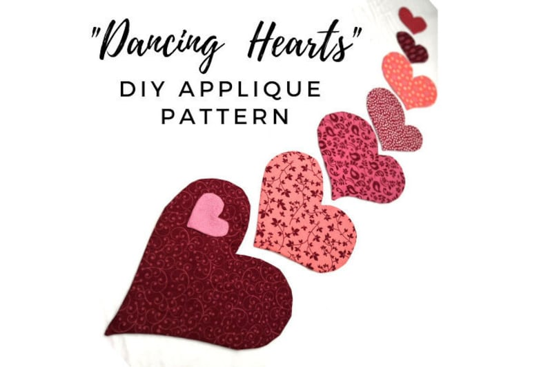 Digital heart applique pattern for clothing quilts image 0