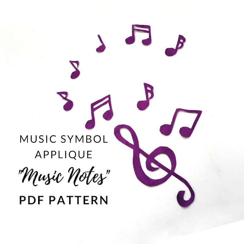 Music Notes Applique PDF Pattern Instant Download Quilt image 0