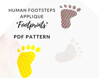 Digital PDF Human Footprint Applique Pattern with 7 Different Footstep outline shapes featured in Small Steps quilt