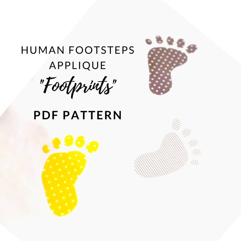 Digital PDF Human Footprint Applique Pattern with 7 Different image 0