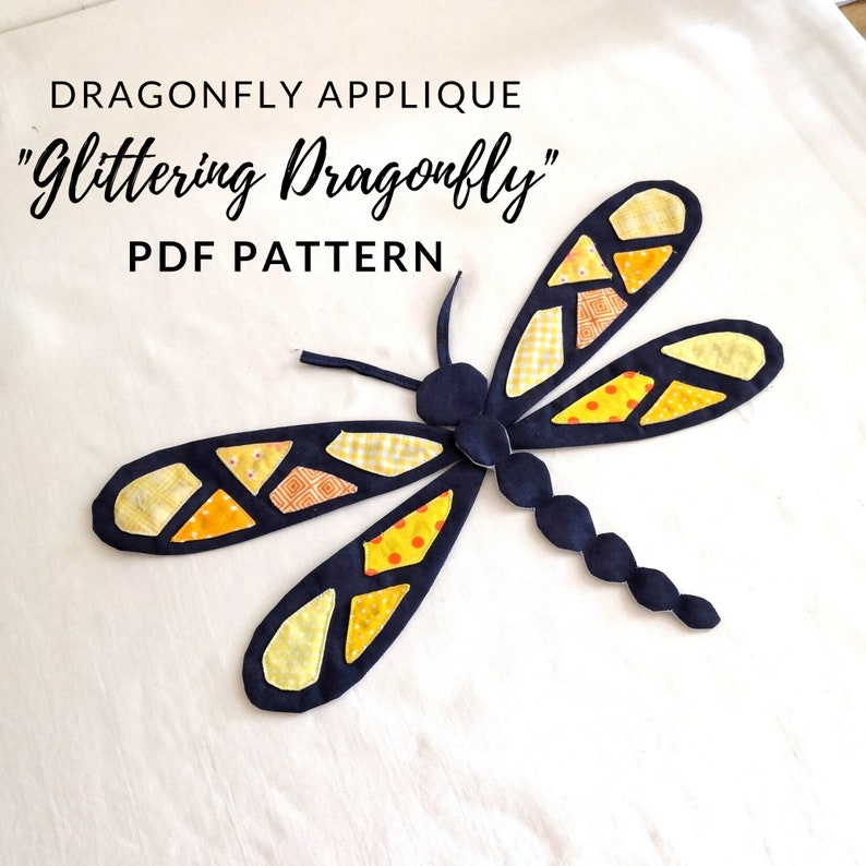 Dragonfly applique pattern Glittering Dragonfly in image 0