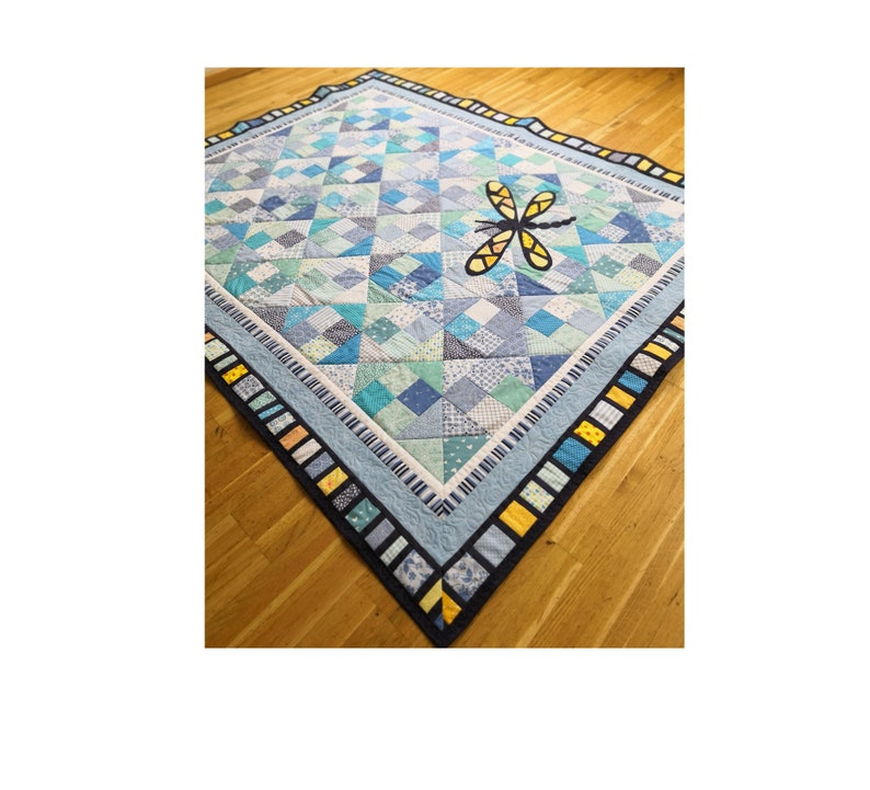 Dragonfly in the sky quilt PDF pattern modern baby quilt with image 0