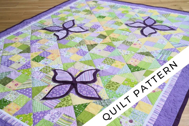 Baby girl quilt pattern digital PDF purple patchwork & image 0