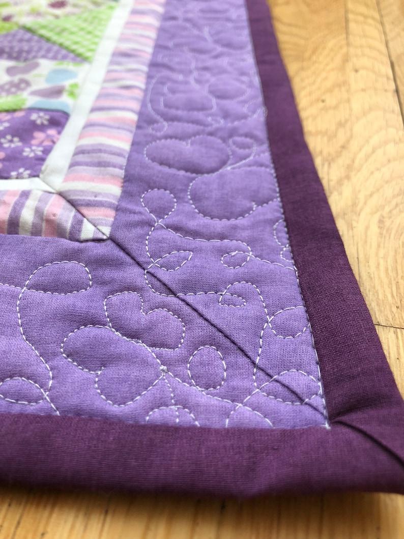 girl gift custom handmade quilt custom purple quilt nursery decor Baby girl quilt purple green quilt homemade quilt butterfly quilt