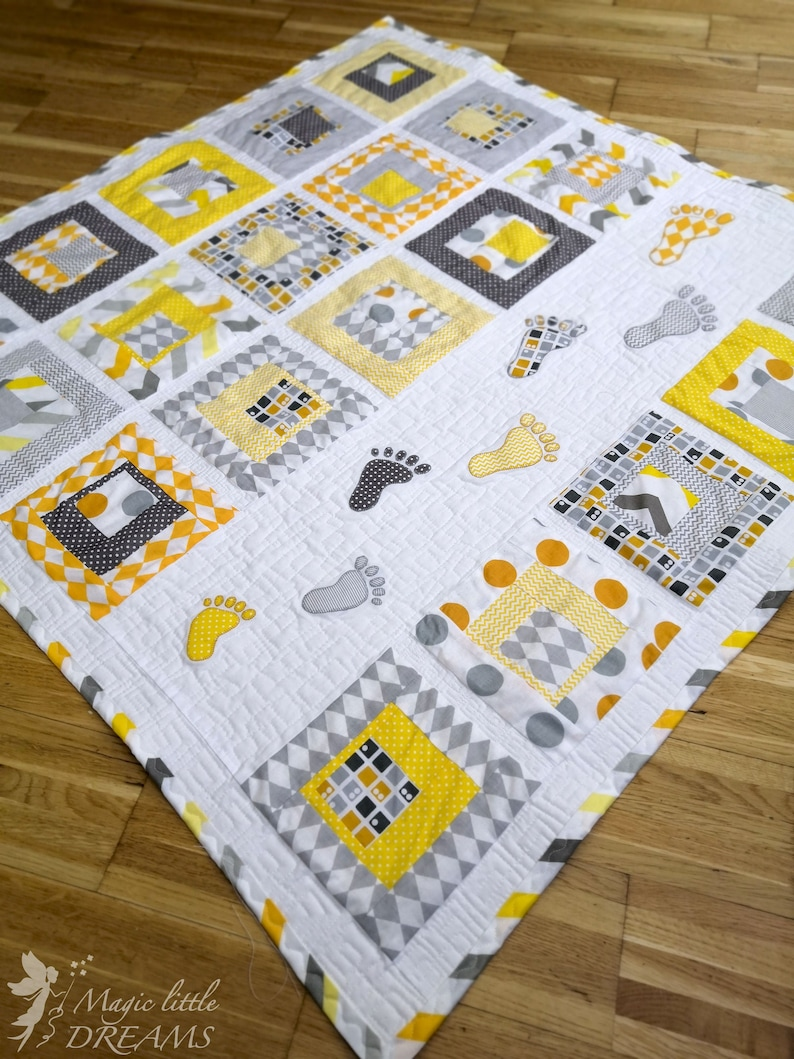 Playful Baby Quilt PDF Pattern with human footstep applique image 0