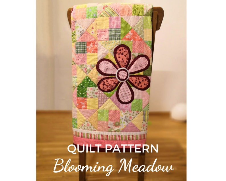 Quilt Pattern with pink flower appliques DIY blooming meadow image 0