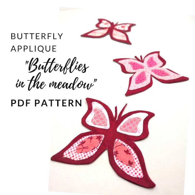Butterfly applique digital PDF pattern Applikationsdesign image 0