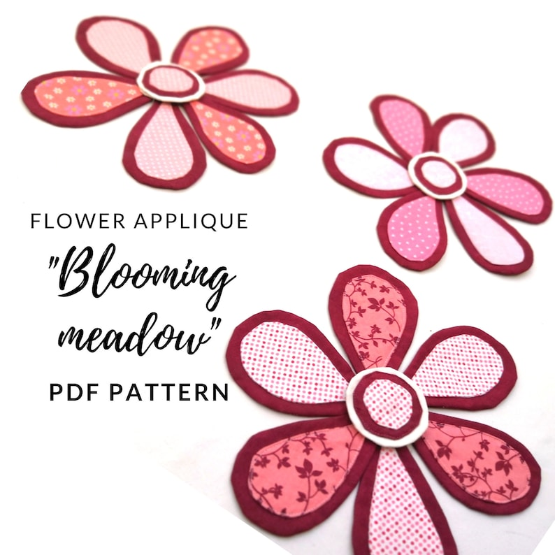 Flower Applique digital pattern from Blooming Meadow quilt. image 0