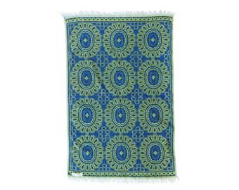 1960s Vintage Bath Towel Blue and Green Mid Century Modern Towel