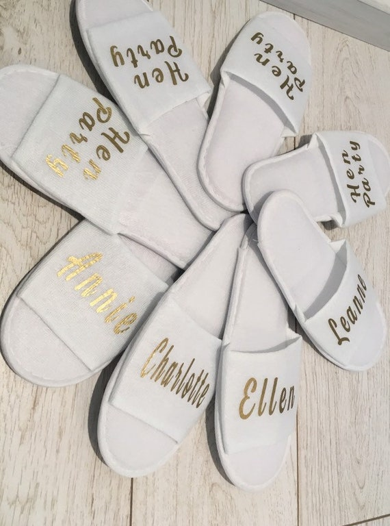 6428b83e2f7 Bridesmaid Slippers Personalised Wedding Slippers Bride slippers ,  Bridesmaid Gift, Bridal Party , Hen Weekend Open Toes Spa Slippers