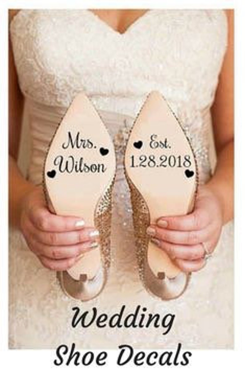 0de750dd280d Custom Wedding Shoes Decal Name And Date Wedding Sticker