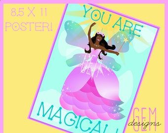 Printable Fairy Princess Poster, 8.5x11, Theme Decor, Style 2