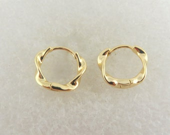 925 hoop earrings gold twisted round minimalist 13mm,gift,sister,mother