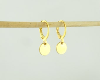 Hoop earrings gold with pendants plate 8mm round minimalist stainless steel