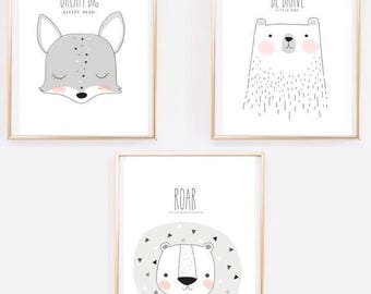 Nursery set / tiger / fox / bear