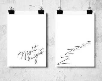 NIGHT NIGHT sleeping  quote print set