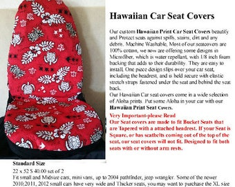 Car Seat Covers Red Hawaiian Print With Turtle Design