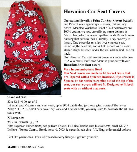 Car Seat Covers Red Hawaiian Print With